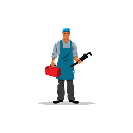 work clothes: He is dressed in work clothes and carrying a tool.