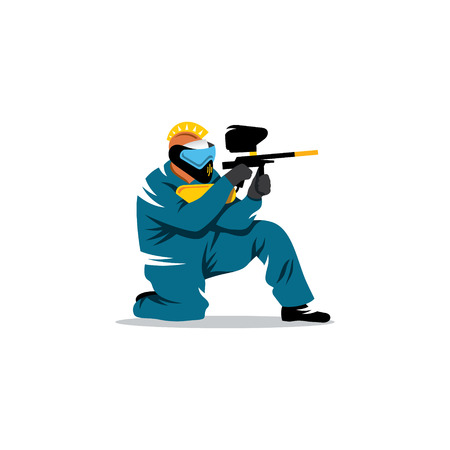 protective mask: A man with a gun in his hand and a protective mask on his head at the ready to fire.