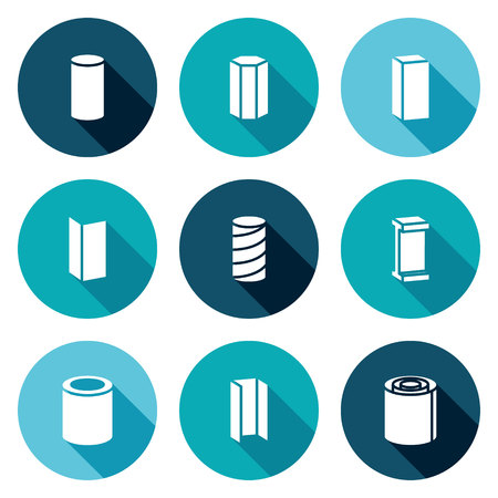 ferrous metals: Isolated Flat Icons collection on a color background for design