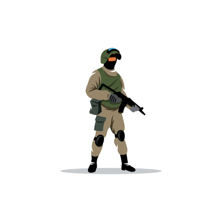 special operations: Man in military equipment for special operations.