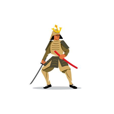 katana sword: Warrior With Katana Sword on a white background