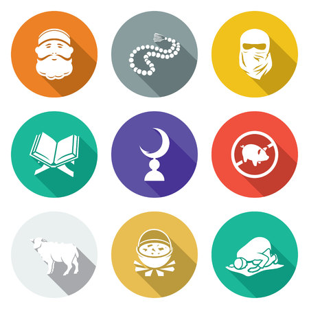 sheik: Isolated Flat Icons collection on a color background for design