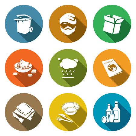 vagabundos: Colecci�n aislado planas iconos sobre un fondo de color para el dise�o