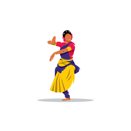 cartoon dance: Indian dancer in traditional dress on a white background Illustration