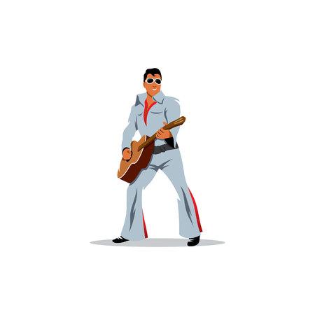 Bieder tweelingen Elvis Presley op een witte achtergrond
