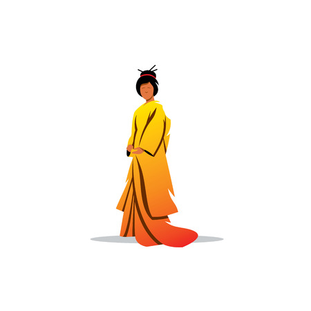 prostitution: Geisha in traditional oriental dress on a white background