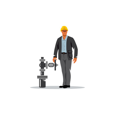 Man near valve in the piping engineer. Illustration