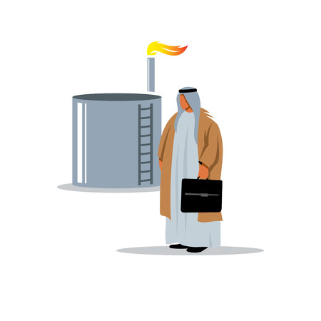 storage tank: Arab sheikh near the oil and gas storage facilities in traditional clothing.