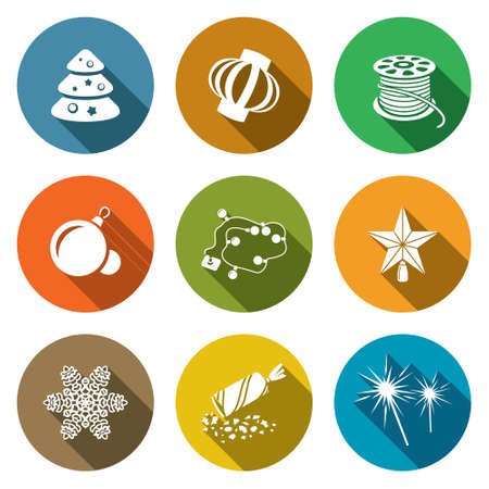 party poppers: Isolated Flat Icons collection on a color background for design