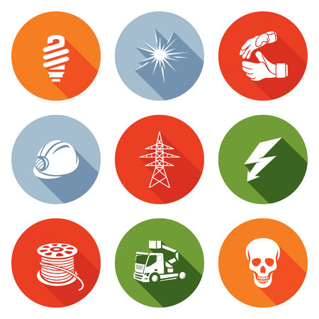 electrical cable: Isolated Flat Icons collection on a color background for design
