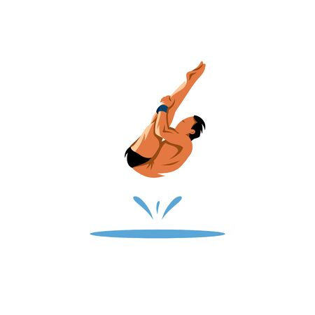 jumping into water: Athlete jumping into the water on a white background