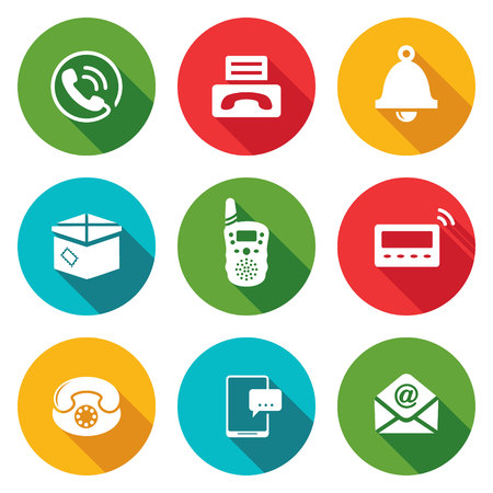 pager: Isolated Flat Icons collection on a color background for design