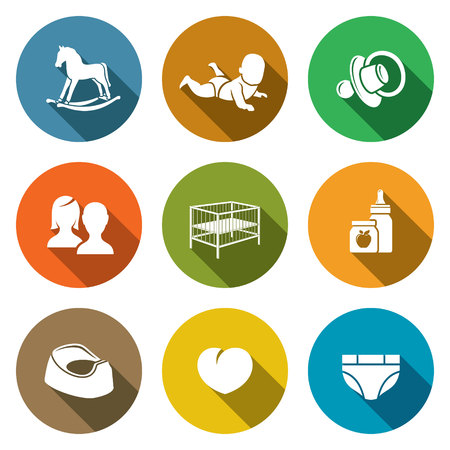 caregivers: Isolated Flat Icons collection on a color background for design