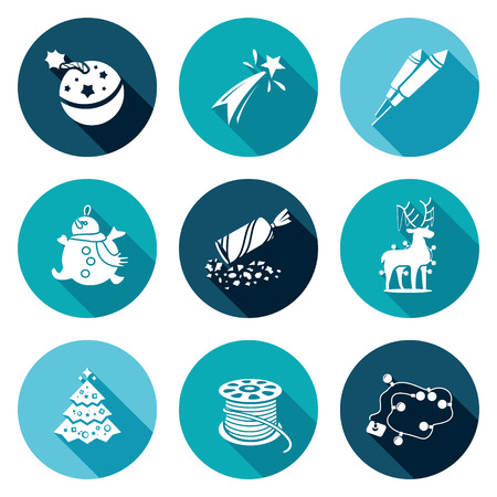 poppers: Isolated Flat Icons collection on a color background for design