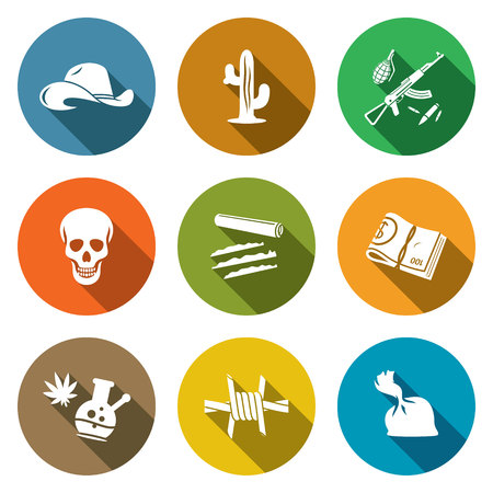 castanets: Isolated Flat Icons collection on a color background for design