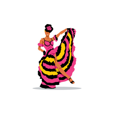 french woman: French woman dancer in a splendid dress. Illustration