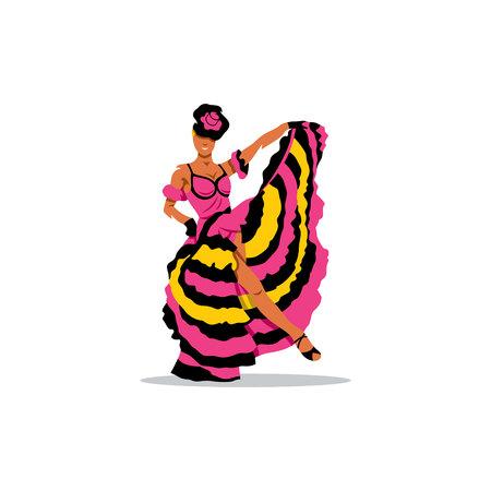 French woman dancer in a splendid dress. Illustration