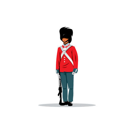 british culture: British army guard of honor on a white background.