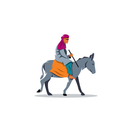 wanderer: A man from the Middle East on a donkey on a white background. Illustration