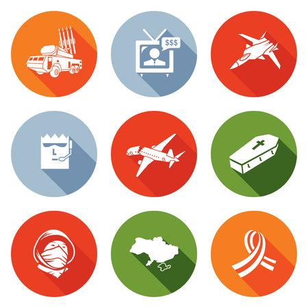 boeing: Isolated Flat Icons collection on a color background for design