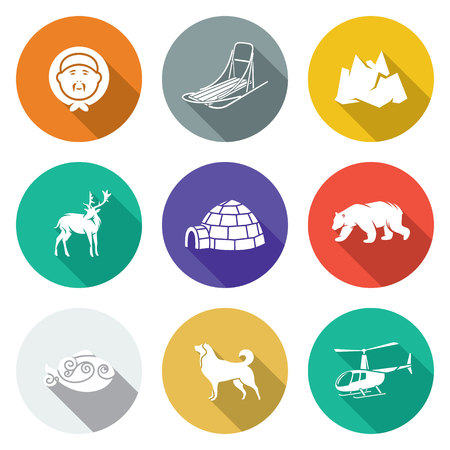 poacher: Isolated Flat Icons collection on a color background for design