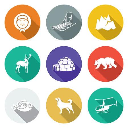 Geïsoleerde vlakke pictogrammen collectie op een achtergrond kleur voor het ontwerp