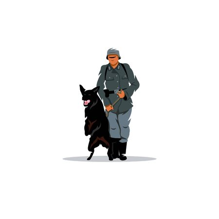Military man with a German shepherd on a leash. Illustration