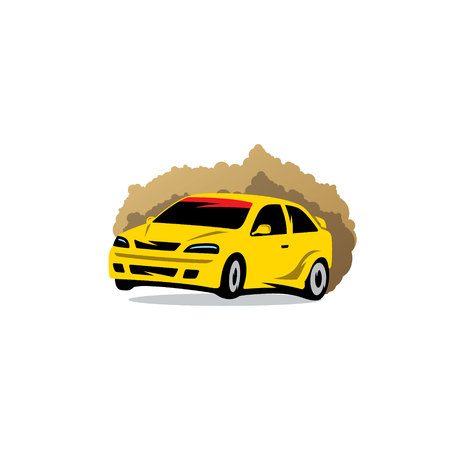 rallying: The racing car in the dust on a white background Illustration