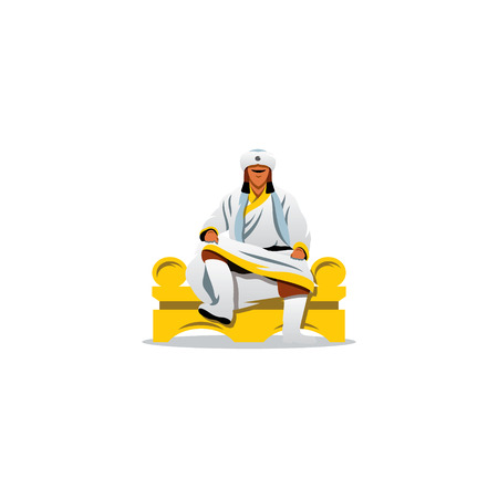 white fur: A man in a white fur clothes sits on a throne with his legs crossed