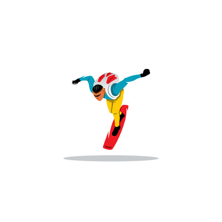 cleared: An athlete with a parachute on his back in the air is cleared on the board Illustration