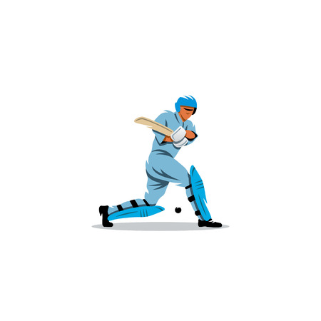 batsman: A player wearing a helmet hits the ball wooden stick