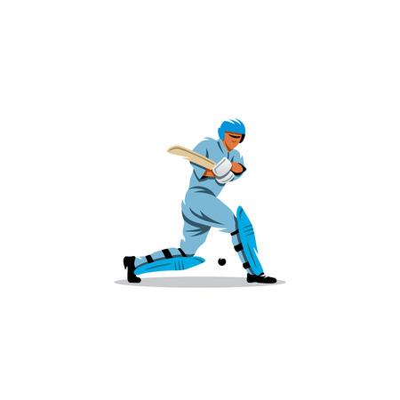 cricketer: A player wearing a helmet hits the ball wooden stick