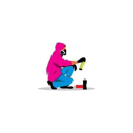 painter cartoon: Man in hoodie with balonchikom paint in the hands of squatting Illustration