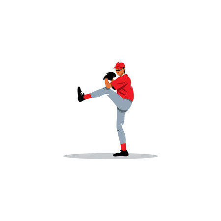ballplayer: Player ready to throw the ball on a white background Illustration