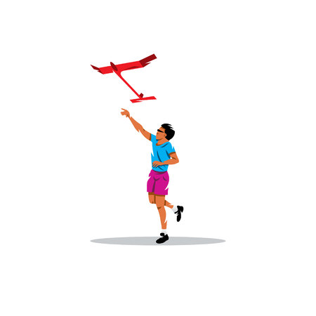 launched: Teenager launched into the sky red aircraft with large wings on a white background Illustration
