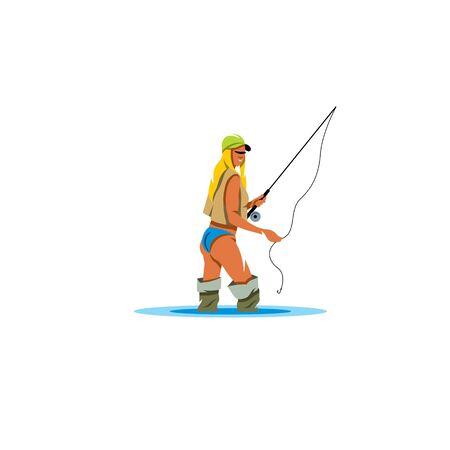 waders: Chica en botas de pesca en la rodilla en el agua Vectores