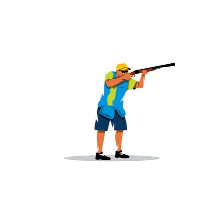Een man met een pistool in zijn handen klaar om te schieten op doel