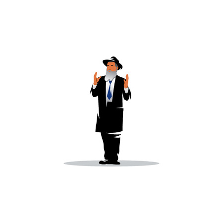 rabbi: Man in traditional Jewish clothes with his arms raised to god Illustration