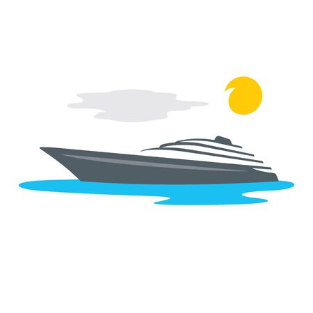 Private Ship at Sea in sunny Weather Isolated on a White Background