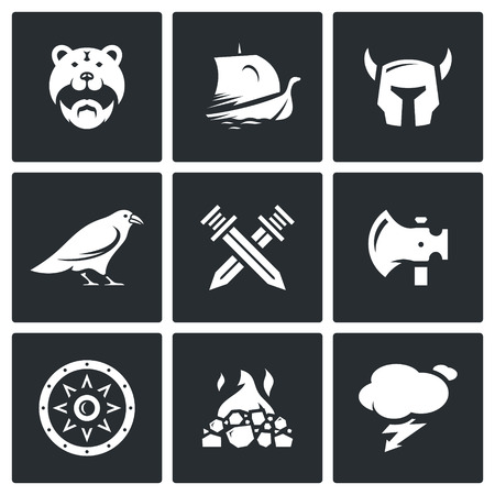 barbarian: Barbarian, Drakkar, Helmet, Raven, Crossed Swords, Ax, Shield, Fire, Lightning
