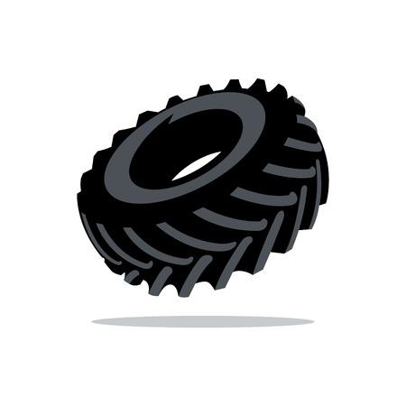 llantas: Negro banda de rodadura de neumático aislado en un fondo blanco Vectores