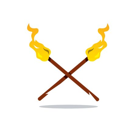flaming: Crossed flaming torches Isolated on a White Background
