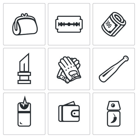 violator: Handbag, Razor, Finance, Knife, Gloves, Bat, Teaser, Purse, Tear Gas