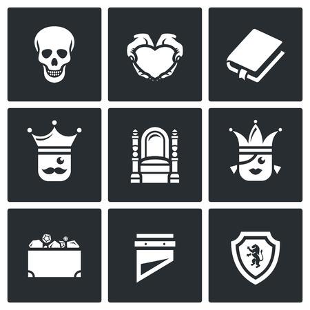 trono: Cráneo, corazón, libro, Rey, Reina, la herencia, la guillotina, Escudo