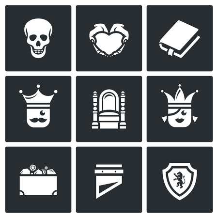 trono real: Skull, Heart, Book, King, Queen, Heritage, Guillotine, Shield