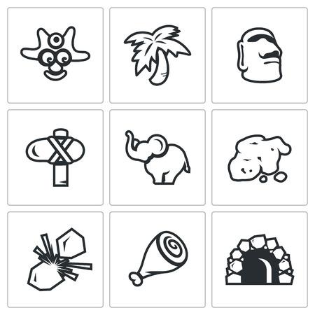 Aborigine, Palm, Idol, Weapon, Elephant, Ore, Flint, Meat, Cave.