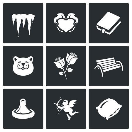 condom: Icicles, Heart, Book, Cat, Rose, Bench, Condom, Cupid, Pillow
