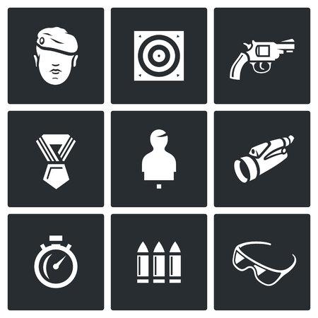 range of motion: Warrior, Stationary Target, Gun, Order, Moving Target, Binocular, Stopwatch, Ammunition, Glasses.