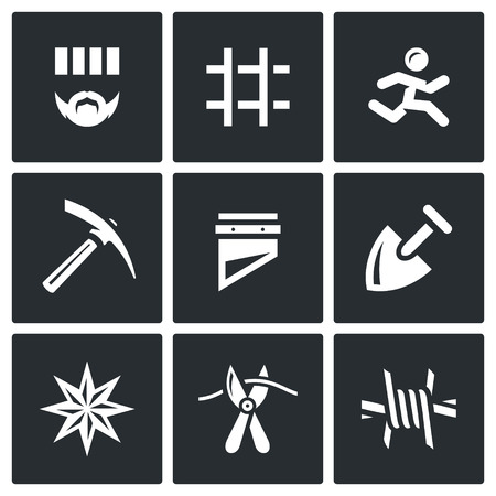 sabotage: Criminal, Bars, Runner, Pickaxe, Guillotine, Shovel, Tattoo, Pliers, Barbed Wire Illustration