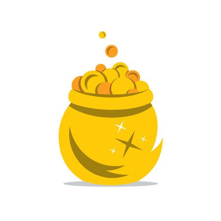 spilling: Coins spilling the golden Pot Isolated on a White Background Illustration